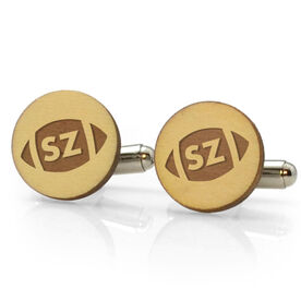 Football Engraved Wood Cufflinks Ball with Your Initials