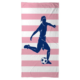 Soccer Beach Towel Stripes with Player Girl