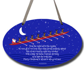 Crew Oval Sign Rowing Reindeer and Santa