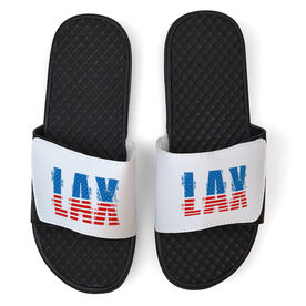 Lacrosse White Slide Sandals - USA Stripes