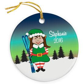 Skiing Porcelain Ornament Christmas Elf