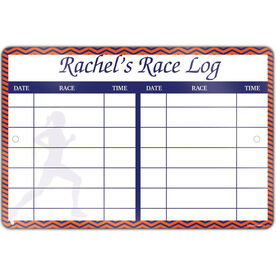 "Running Aluminum Room Sign Personalized Dry Erase Race Log Female (4""x18"")"