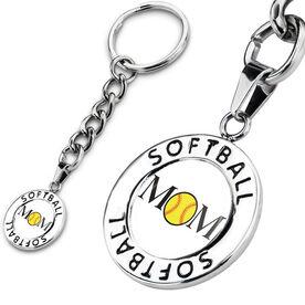Softball Circle Keychain Ball Mom