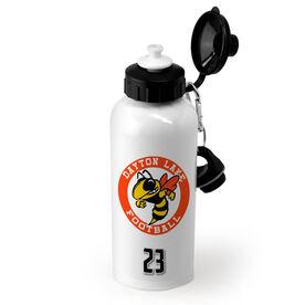 Football 20 oz. Stainless Steel Water Bottle Custom Football Logo with Team Number