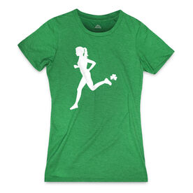 Women's Everyday Runners Tee Female Runner With Shamrock