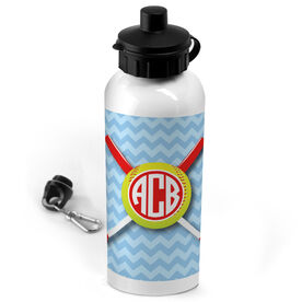 Softball 20 oz. Stainless Steel Water Bottle Monogrammed Chevron Pattern with Crossed Bats