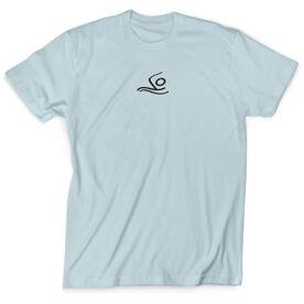 Swimming Tshirt Short Sleeve Swimmer Black Stick Figure no Word