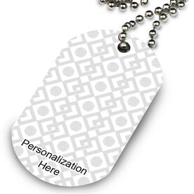 Volleyball Printed Dog Tag Necklace Volleyball Link Pattern