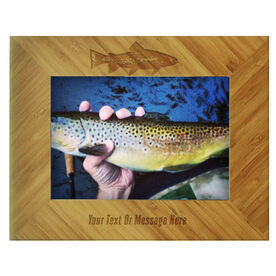 Fly Fishing Bamboo Engraved Picture Frame Brown Trout