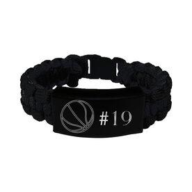 Basketball Paracord Engraved Bracelet - Basketball Ball With 1 Line/Black