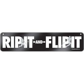 "Baseball Aluminum Room Sign Rip It Flip It (4""x18"")"