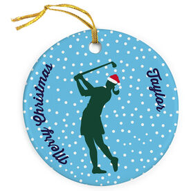 Golf Porcelain Ornament Silhouette With Santa Hat Female