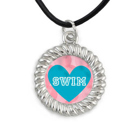 Braided Circle Necklace Swim Heart