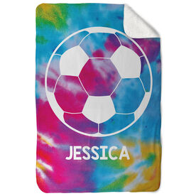 Soccer Sherpa Fleece Blanket Personalized Tie Dye with Ball