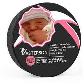 Personalized Baby Girl Player Trivia Hockey Puck