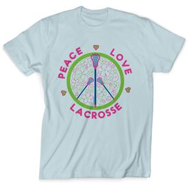Lacrosse Tshirt Short Sleeve Peace Love Lacrosse Flowers