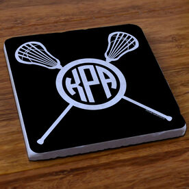 Girls Lacrosse Stone Coaster Monogram with Crossed Sticks