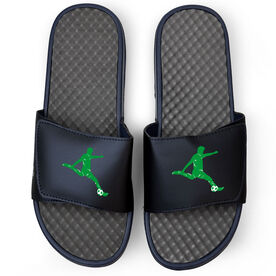 Soccer Navy Slide Sandals - Guy Player