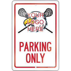 "Lacrosse Aluminum Room Sign Custom Guys Lacrosse Logo Parking Only (18"" X 12"")"
