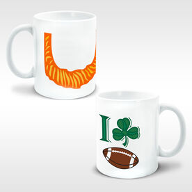 Football Ceramic Mug Leprechaun Beard I Shamrock