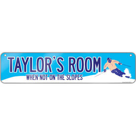 """Skiing Aluminum Room Sign Personalized When Not On The Slopes (4""""x18"""")"""
