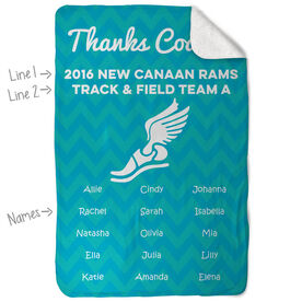 Track and Field Sherpa Fleece Blanket Personalized Thanks Coach Chevron