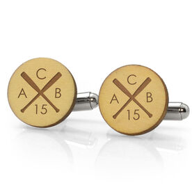 Baseball Engraved Wood Cufflinks Crossed Bat Monogram With Your Number