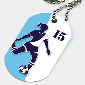 Soccer Printed Dog Tag Necklace Personalized Soccer Player Silhouette Girl