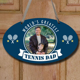 World's Greatest Tennis Dad Custom Photo Decorative Oval Sign
