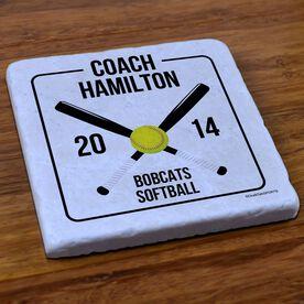 Softball Stone Coaster Personalized Softball Coach Box