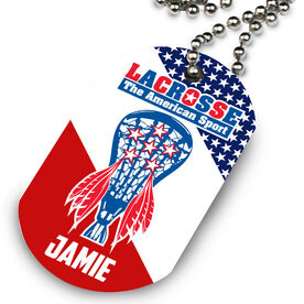 Lacrosse Printed Dog Tag Necklace American Sport