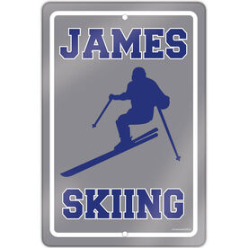 """Skiing 18"""" X 12"""" Aluminum Room Sign Personalized Skiing Guy"""