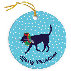Hockey Porcelain Ornament Howe The Hockey Dog with Christmas