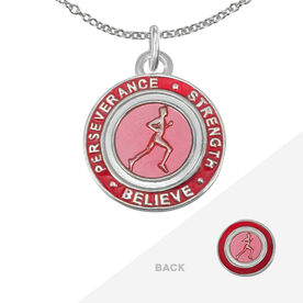Runner's Creed Pendant Necklace - 2.3cm Pink/Red