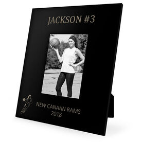 Basketball Engraved Picture Frame - Name and Number (Girl Player Silhouette)