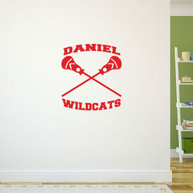 Guys Lacrosse Removable ChalkTalkGraphix Wall Decal - Personalized Crossed Sticks