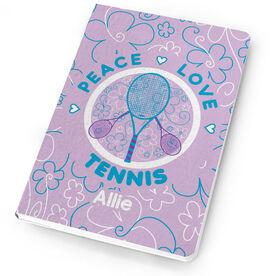 Tennis Notebook Peace Love Tennis Flowers
