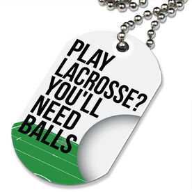 Lacrosse Printed Dog Tag Necklace Play Lacrosse