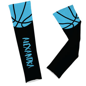 Basketball Printed Arm Sleeves Basketball with Text