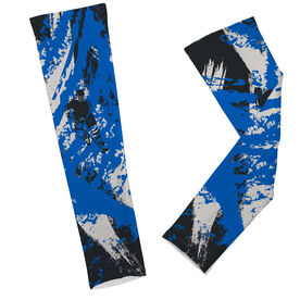 Hockey Printed Arm Sleeves Hockey Grunge Silhouette Player