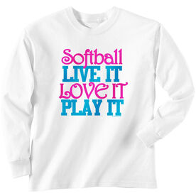 Softball Tshirt Long Sleeve Softball Live It Love It Play It