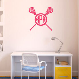 Monogrammed Lacrosse Crossed Sticks Female Removable LuLaGraphix Wall Decal