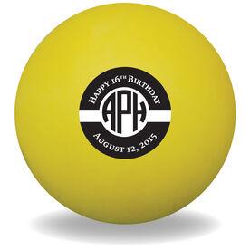 Personalized Happy Birthday Monogram Lacrosse Ball (Yellow Ball)