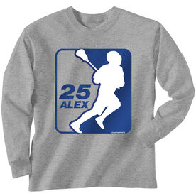 Guys Lacrosse Long Sleeve T-Shirt - Personalized Lacrosse Silhouette