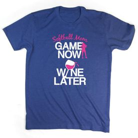 Softball Tshirt Short Sleeve Game Now Wine Later with Softball Player