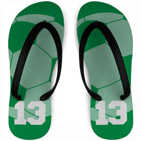 Soccer Flip Flops Personalized Ball Background