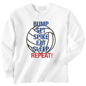 Volleyball T-Shirt Long Sleeve Bump Set Spike Eat Sleep Repeat