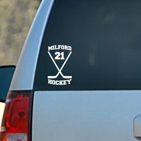 Vinyl Car Decal Personalized Hockey Crossed Sticks