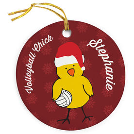 Volleyball Porcelain Ornament Chick with Santa Hat