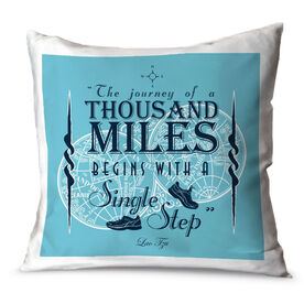 Running Throw Pillow Vintage The Journey Of A Thousand Miles